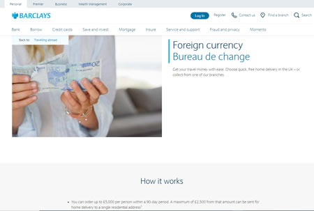 Barclays Travel Money Website