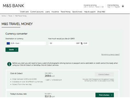 Marks and Spencer Travel Money Website
