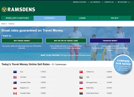 Ramsdens Travel Money Website