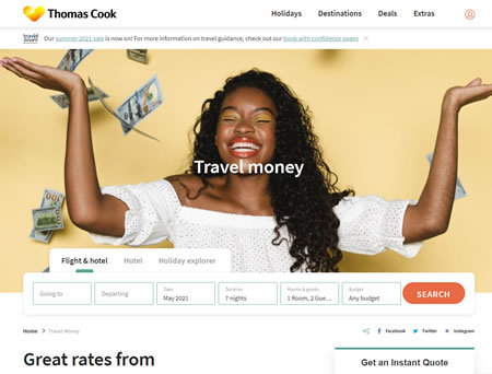 Thomas Cook Travel Money Website